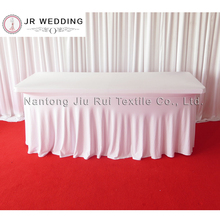 5pcs Luxury Natural Fall White Lycra Rectangle Swag Stretch Table Cloth For Wedding Decoration(China)
