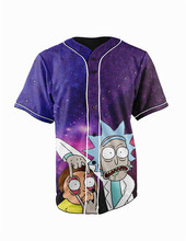 Real American Size  Galaxy Rick and Morty 3D Sublimation Print Custom made Button up baseball jersey plus size