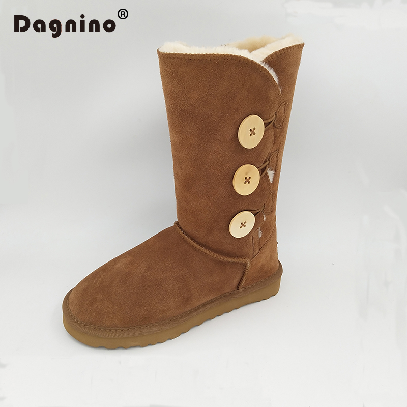 DAGNINO Original Brand Australia Classic Three Button Snow Boots Womens Genuine Cowhide Leather Winter Warm Shoes Botas Mujer<br>