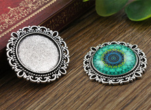 10pcs 20mm Inner Size Antique Silver Classic Style Cabochon Base Setting Charms Pendant (D2-01)