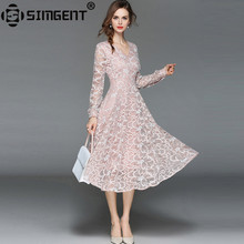 Buy Simgent High End Fashion Elegant V-Neck Long Sleeve Office Party Slim Lace Dress Pink Women Clothes Vestido Renda Midi SG84232 for $26.91 in AliExpress store