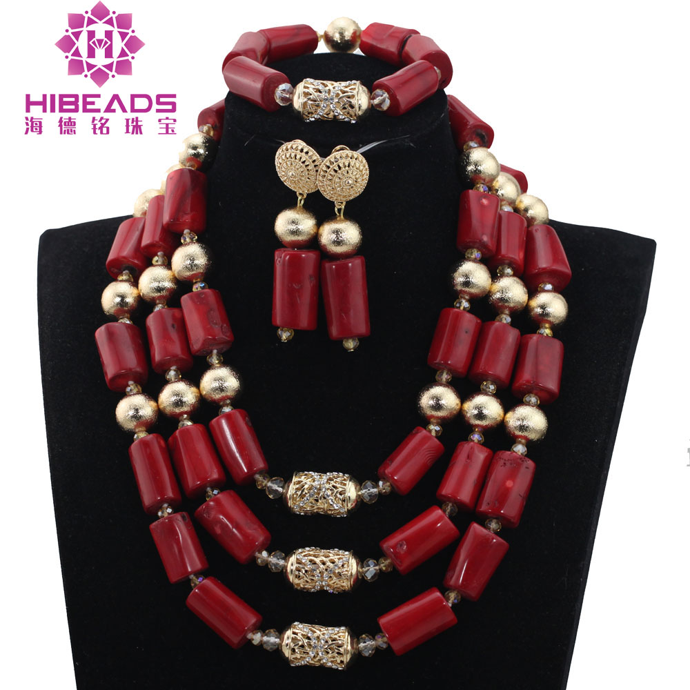 Trendy Gold Nigerian Dubai Jewelry Sets Traditional Wedding Beads Jewelry Sets Wine Red Coral Beaded Bridal Jewelry Sets ABH474