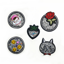 5pcs/lot Sew-on Iron-on Embroidery Patches DIY Supplies Shining Animals Plants Badge Clothing Bag Shoes Hats Decora Accessories(China)