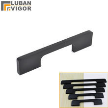 Matte Black Drawer cupboard door Solid Handle,wardrobe door Flattened handle, plus size Lengthened simpleand,Hardware(China)