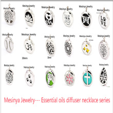 10pcs mesinya new series 19 designs (30mm) Aromatherapy / Essential Oils 316L surgical S.Steel Perfume Diffuser Locket Necklace