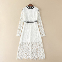 new arrival 2017 high fashion white / red crochet dress knitted stripes round neck long sleeve ankle length a line dress sale