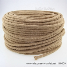 100m Free Shipping 2x0.75mm2 Vintage hemp rope wire cable retro Electrical Wire fabric cable cord