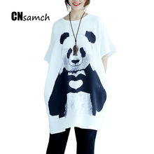 CNsamch Oversize 2017 summer new European station fat sister loose large size 140 CM bust panda print short sleeve dress female