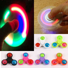 Newest Pudcoco Mini Finger LED Light Flash Hand Spinner Tri-Fidget EDC Focus Toys For Autism ADHD