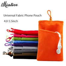Universal Fabric Phone Pouch Case Soft Velvet Smartphone Pocket Bag 5.5'' 5.0'' 4.3'' for iPhone 7 6S 6 Plus SE for Samsung case(China)