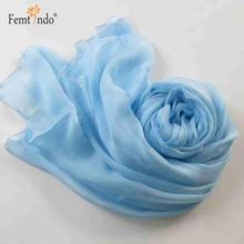 Elegant New Silk Scarf Solid Color Smooth Light Chiffon Scarf Pure Blue Flowing Women Scarf Baby Wrap Cape(China)
