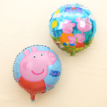 JF 1pcs pink pig cartoon round balloon inflatable helium balloon aluminum balloons decorated children's birthday party supplies(China)