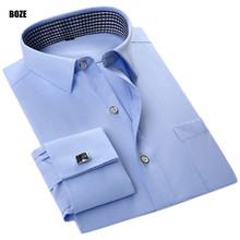Buy BOZE FSXX New High French Cufflinks Men Wedding White Black Twill Dress Shirts Long Sleeve Shirts Social Men Clothes for $15.60 in AliExpress store