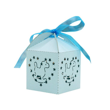 KAZIPA 50pcs Laser Cut Rockie Horse Gift Candy Cake Favor Boxes Decoration Box for Wedding Party Favor Blue