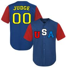 2017 New Customized USA JUDGE Baseball Jersey Embroidery Stitched Blue Jersey Can do any number