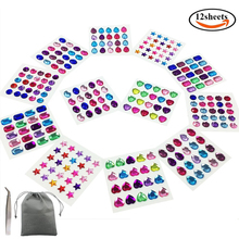 WXBOOM 12 Sheets 10-14 mm Self Adhesive Rhinestone Sticker Crystal Gem Stickers 6 Shapes, with Tweezers and Bag