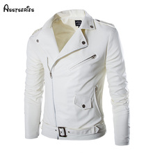 Free Shipping 2018 New Men PU Leather Jacket Motorcycling Jacket Slim Fit White Pu Leather Jacket For Men D91(China)