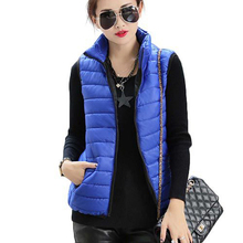 2015 New Plus Size Autumn Winter Coat Women Ladies Gilet Colete Feminino Casual Waistcoat Female Sleeveless Cotton Vest Jacket