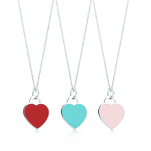 Buy Tiny Heart Necklace&Pendant Blue&Pink&Red Stainless Steel Brand Tiff Design Chain Engraved Letter Necklace Charm Women Jewelry for $2.55 in AliExpress store
