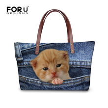 FORUDESIGNS Cute Pet Cat Women Large Cross Body Bags 3D Denim Pocket Animal Vintage Beach Shoulder Bags Woman Fashion Handbags(China)