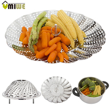 Cookware Stainless Steaming Basket Stainless Folding Mesh Food Vegetable Egg Dish Basket Cooker Steamer Expandable Kitchen Tool