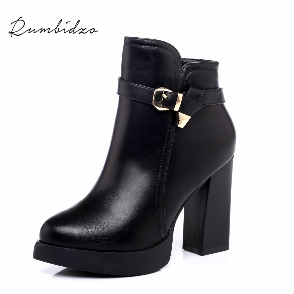 Rumbidzo 2017 Fashion Women Boots Shoes Woman Winter Ankle Boots Short Plush Buckle Zipper Thick Heel High Heel Bootie Sapatos<br>