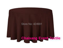 "5pcs Chocolate Brown 274cm 108"" Round Table Cloth Polyester Plain Table Cloth 210GSM For Wedding Events&Hotel&Banquet Decoration(China)"