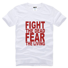Fight The Dead Fear The Living The Walking Dead Printed Mens Men T Shirt Tshirt Fashion 2015 Cotton T-shirt Tee Camisetas Hombre(China)