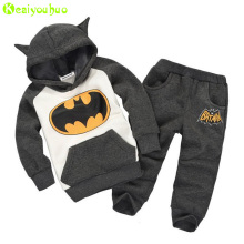 KEAIYOUHUO Children Clothes 2017 Winter Girl Clothes Christmas Costume Batman Hoodie+Pant 2pcs Kids Sport Suit Boys Clothing Set