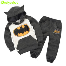 KEAIYOUHUO Children Clothes 2017 Winter Girl Clothes Christmas Costume Batman Hoodie+Pant 2pcs Kids Sport Suit Boys Clothing Set(China)