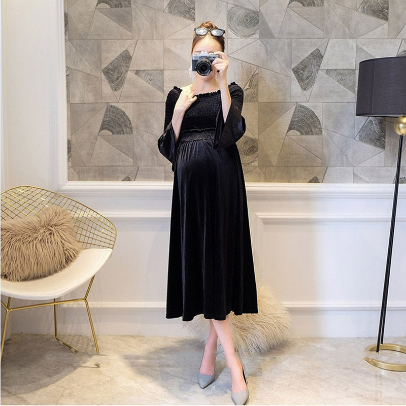 Maternity clothing Soft Dress clothes for Pregnant Women maternity dresses Shoulderless Dresses Pregnancy Womens dress spring<br>