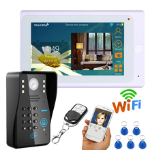 "7"" Wired / Wireless Wifi RFID Password Video Doorbell Intercom System with IR-CUT HD1000TVL Camera Night Vision(China)"