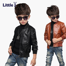 Clearance Kid Leather Jacket Handsome Boys Girls Winter Thick Velvet Warm Pu Jacket Fashion Black Overcoat Children Clothes(China)
