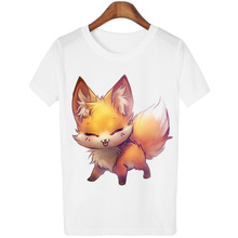 Harajuku Fashion Tee Shirt Femme Small Fox And Owl Print 2016 Summer Style Animal T Shirt Women Tshirt Women Tops Short Sleeve(China)