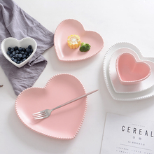 Frosted Ceramic Tableware Breakfast Plate Love Heart Dish Heart Shaped Bowl Couple Plate Creative Dessert plates hollowware(China)