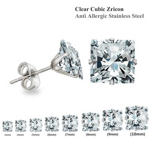 Clear Stud Earrings 10 pairs/lot Size 3mm To 10mm ,Brilliant Square Cut Cubic Zirconia Stainless Steel Earring