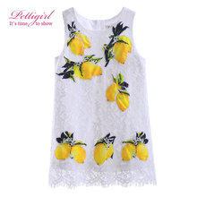 Pettigirl 2017 New Girls Tank Dress Summer Lemon Patterns Children Costume Dresses for Kids Girl Clothes GD90314-699F