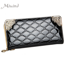 2016 Luxury Vintage Brand Women Long Patent Leather Plaid Wallet Female Clutch Ladies Phone Purse Coin Credit Card Holder Cuzdan