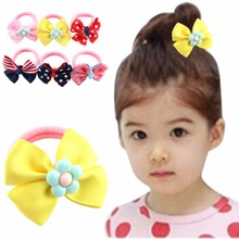 1PC Sweet Solid Print Bow Elastic Hair bands ropes Kids Hair ties Adorable Ponytail Holder headwear  Hair Accessories