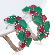 Luxury design Peridot Clip Earrings Silver Stamped Super supplier Green & Rose Crystal Zircon fashion Jewelry JES923A