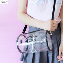 Razaly brand clear jelly handbags transparent tote clutch beach cool crossbody shoulder ladies bolsos pvc small bags boston bao