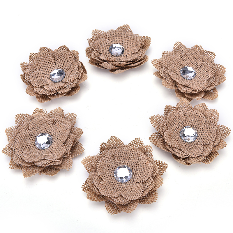 High Quality Wholesale Natural Jute Hessian Burlap Flower christmas decoration vintage centerpieces wedding favors