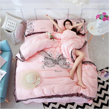 size Full/Queen/King 2017 Hot selling cotton bedding White butterfly Bud silk lace bedding Bed sheet/pillowcase/quilt cover