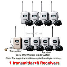 Hot Takstar WTG-900 Wireless Tour Guide System 780-850MHZ FHSS design high quality sound reproduction 1 transmitter+8 Receivers(China)
