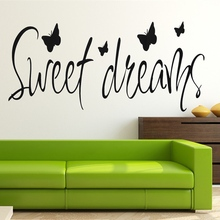 Quote Sweet Dreams Butterfly Romantic Wall Sticker Decal Bedroom Living Kids Room Art Vinyl Decal Mural Home Dormitory Decor(China)