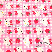 105X100cm Pink and White Plaid Background Hello Kitty Cotton Fabric for Girl Dress Bedding Set Sewing Patchwork DIY-AFCK105(China)