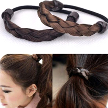 Women Hair Ring Hair Rope Elastic Braided Wrap Hairband Fastening Synthetic Ponytails 3Pcs