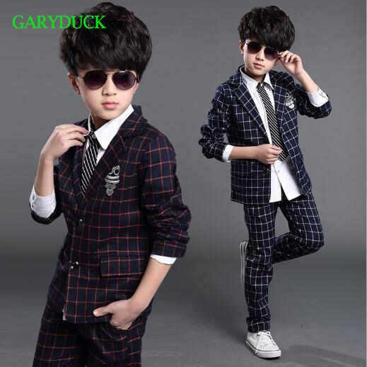 Children Spring Autumn Casual Plaid School Suits Boys Formal Jacket Pants Suits Boys Blazer Kids Wedding Clothes Boy Suits<br>