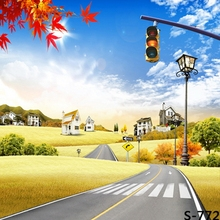 10x10FT Autumn Yellow Crops Field Village Hills Traffic Light Road Custom Photography Studio Backdrop Background Vinyl 8x8 8x10