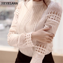 YEYELANA Women Blouses 2017 Spring Summer Long Sleeve Shirt Women White Lace Blouse Camisas Femininas Woman Tops Clothes A002(China)